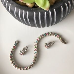 Pastel Faux Gem Tennis Bracelet & Earrings